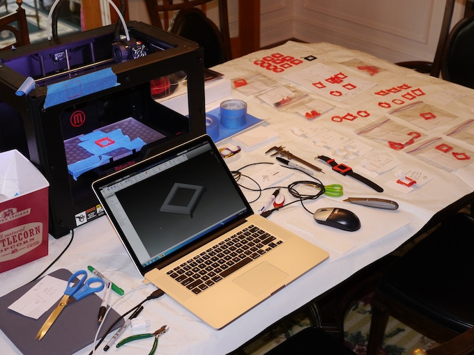 Our dining room table with my new Makerbot Replicator 2 3D printer