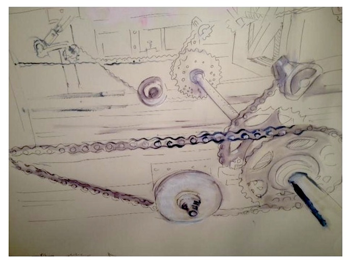 "Phoebe's watercolor of the ""Twisted Chain.""It is a figure 8...6 pedalers face each other, yet the Eagle Bike moves forward! Thanks Dirk of Kosmic Dust Camp for figuring this out!"