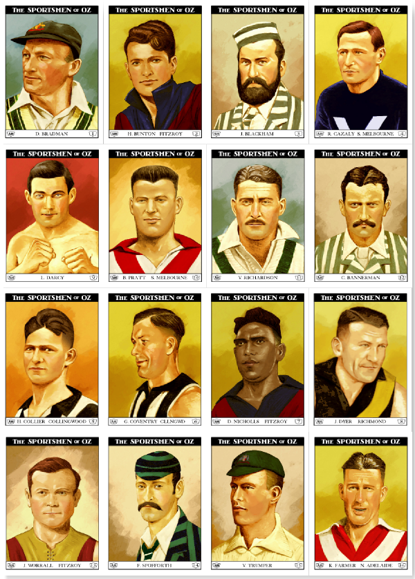 "The base set of sixteen 2.5"" by 3.5"" cards of the Sportsmen of Oz. Prototypes shown; colour and detail might vary slightly from final product."