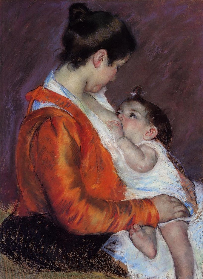 "Mary Cassatt ""Louise nursing her child"""