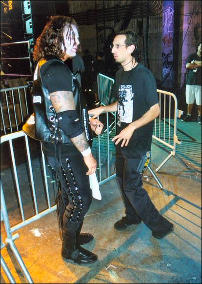 Kevin and lucha legend Vampiro on the set of MTV's Wrestling Society X