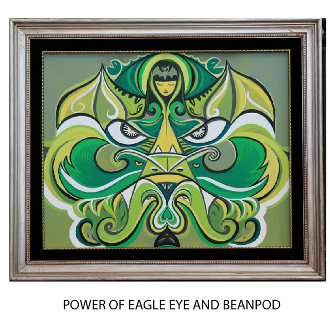 """$1500 REWARD: Eagle Eye + BeanPod: Rob Reger original 24"""" x 16"""" acrylic on canvas  (framed, comes with indexing rotation device that allows painting to be viewed on wall in 2 directions at 180 degree turns. 2 paingints for the price of one!)"""