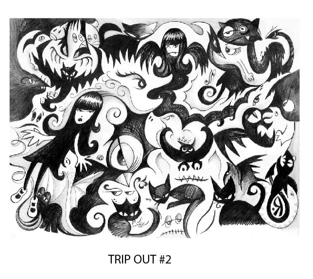 "$1200 REWARD: Trip Out: Rob Reger original 16"" x 24"" graphite on paper (originally published in Dark Horse Comics series 1 #2)"