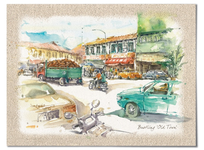 """""""Bustling Old Town"""" – In Malaysia, almost every city and town is an electic mix of old and new."""