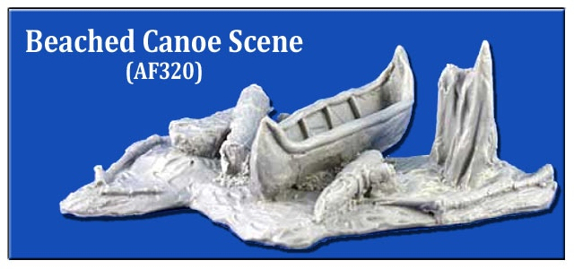 Beached Canoe Scene