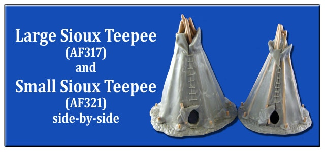 Comparison image of the Large & Small Sioux Teepees