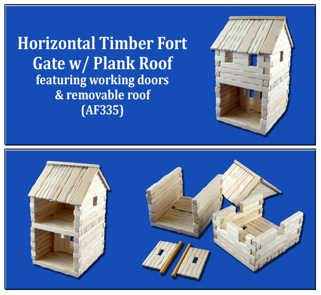 Horizontal Timber Fort Gate w/ removable Plank Roof and working doors