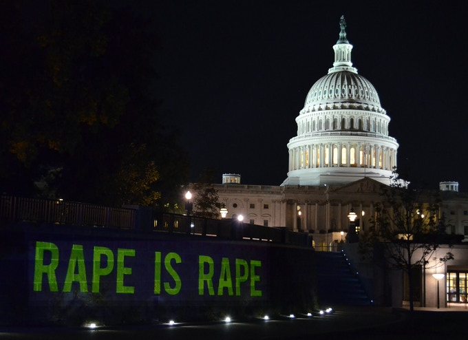 "On the eve of the last presidential debate in 2012, we projected Rape Is Rape onto the US Capital building. The stories fell outside of the definition of ""forcible rape"" and illuminate what is missing from the national conversation on the politics of rape"
