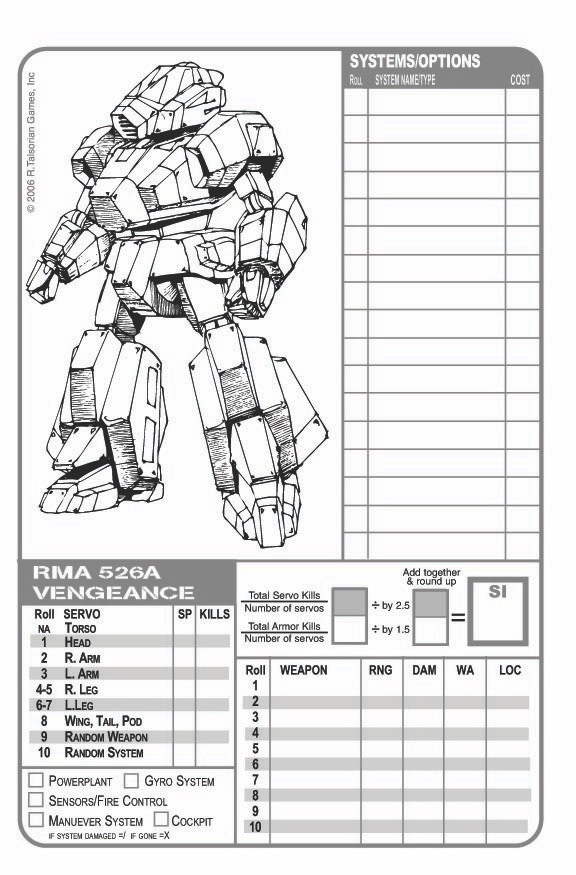 Prototype Mekton Sheet Page 1