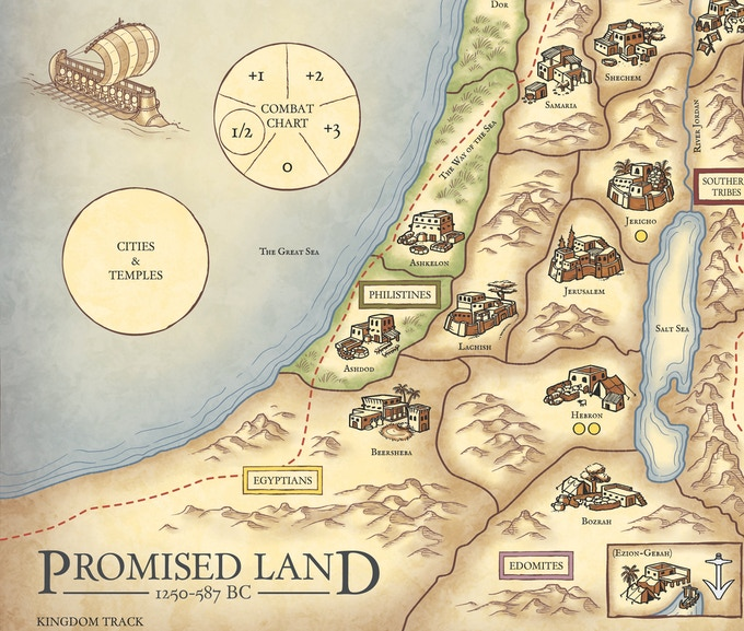 Segment of the map for Promised Land 1250-587 BC