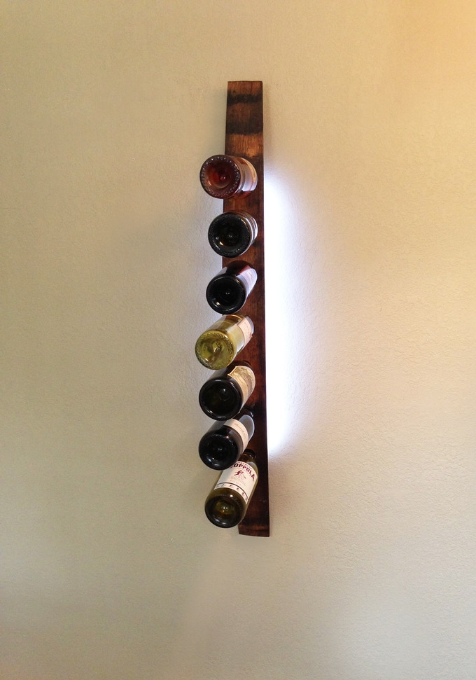 Lumi Wine Wall with one wine stave holds 7 bottles of wine includes all hardware, 24  SuperBright LEDs and one 12V wall transformer or one battery pack.  Once our project ends, the single Lumi Wine Wall will retail for $150.00