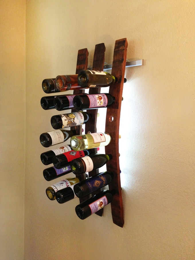 Lumi Wine Wall with 3 wine staves holding 21 bottles of wine includes all hardware, 72 SuperBright LEDs and three 12V wall transformers or three battery packs. Once project ends the retail price of the three Lumi Wine Wall will be $375.00.
