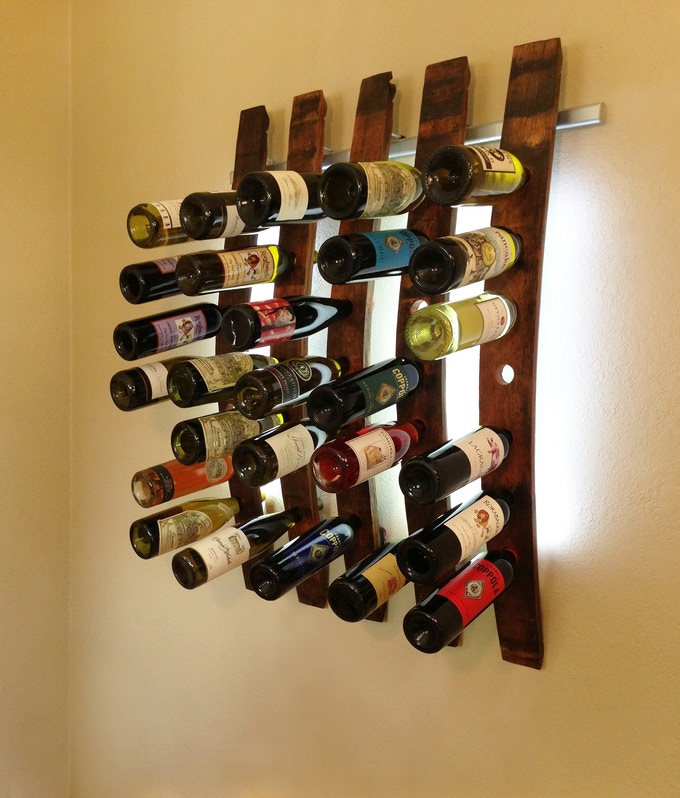 Lumi Wine Wall with 5 wine staves holding 35 bottles of wine includes all hardware, 120  SuperBright LEDs and five 12V wall transformers or five battery packs.  Once our project ends the retail price of the 5 Lumi Wine Wall will be $575.00.