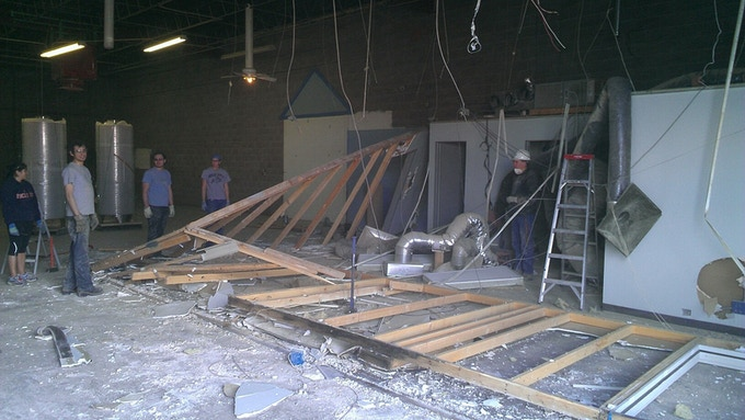 The demolition of the pre-existing office space