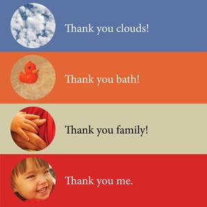 The last pages model a gratitude ritual appropriate for very young children, while giving them a fun opportunity to find connections to earlier parts of the book.