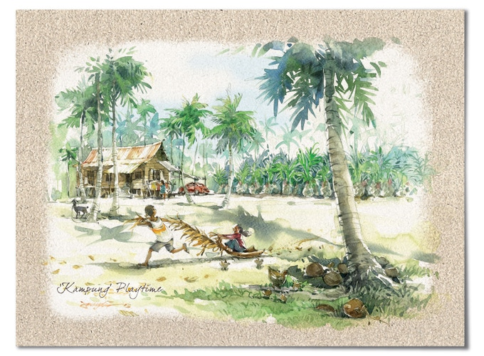 """""""Kampung Playtime"""" – For some kampung (village) kids using a palm frond can be great fun!"""