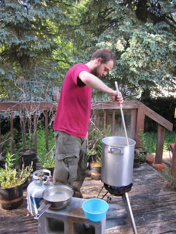Brewer Dan and a test batch of Dark Pale Ale.