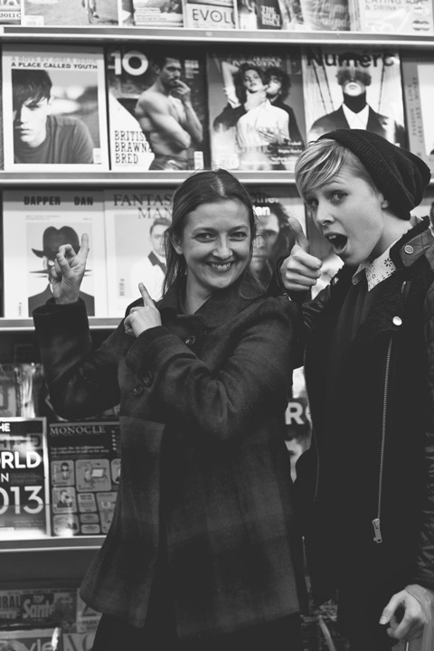 Cecilie and Georgie celebrate seeing issue 4 'A Place Called Youth' on shelves in Berwick Street, London.