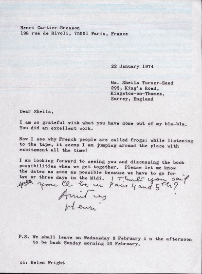 Letter from Henri Cartier-Bresson to Sheila.