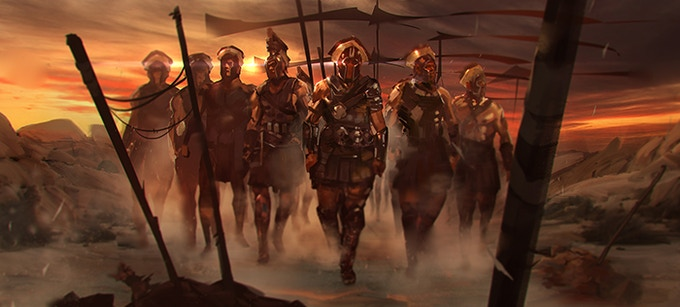 Celea soldiers marching through the desert.