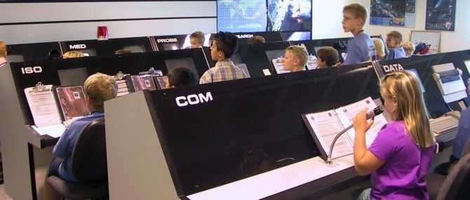 Students at The Museum of Flight's Challenger Learning Center