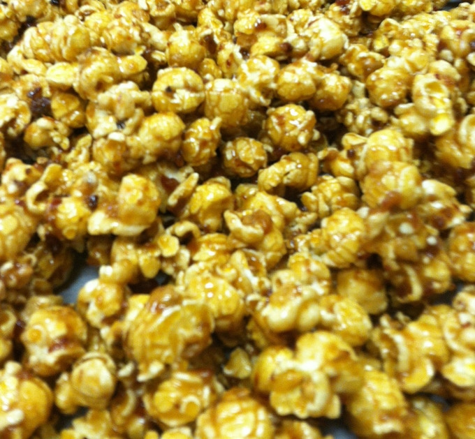 Chunky Pig Candied Bacon Caramel Corn ready for some oven lovin'