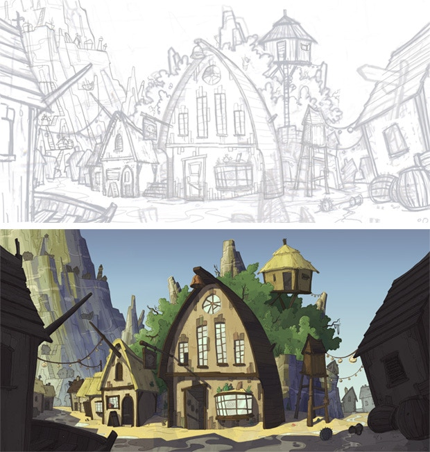 Shanty Town background from sketch to completion.