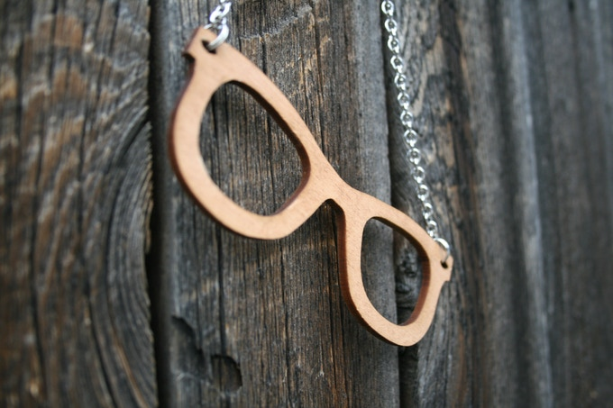 (reward) REPURPOSED SUNGLASS NECKLACE made from salvaged, laser cut wood