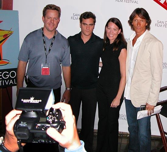 At the San Diego Film Festival in 2005 with narrator Joaquin Phoenix (second from left) and director Shaun Monson (far right) to premiere EARTHLINGS.