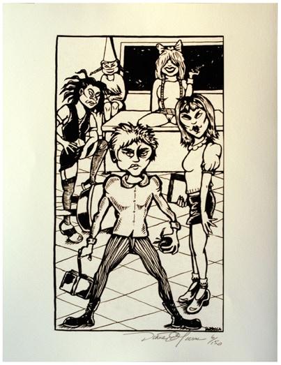 "Diane DiMassa illustration for ""Pussycat Fever"" 8 1/5"" X 11"""