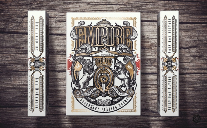 Empire tuck box front and sides with gold foil and embossed detailing - Click to enlarge