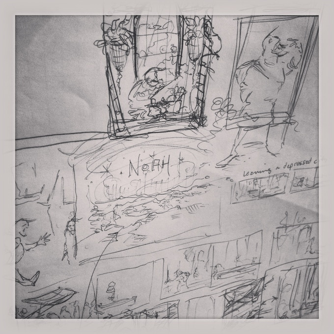 Here were some of the early thumbnail sketches catching the initial flow of book