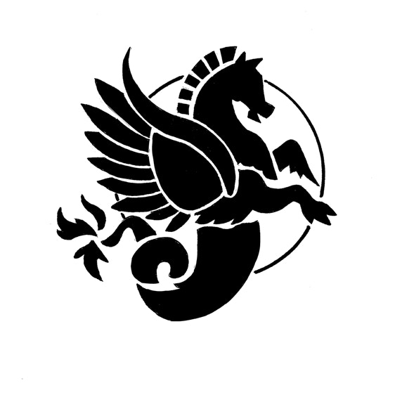 Black-and-White draft of Pegasus Crew Patch