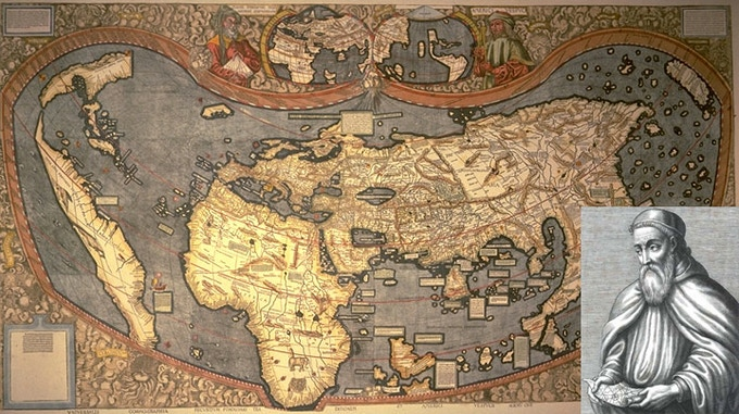This map from 1507 is one of the first world maps ever made and the first to use the name 'America', artfully crafted by that handsome, bearded German fellow in the corner.