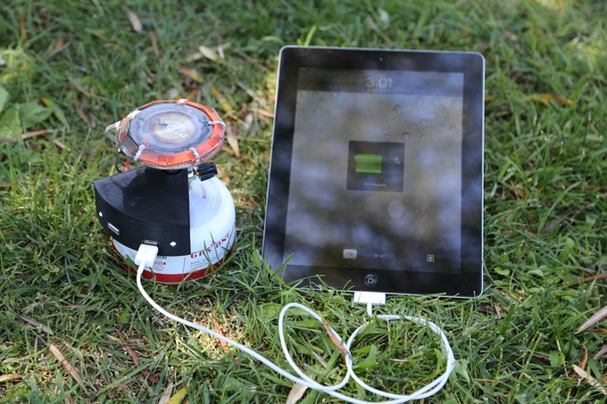 The Halo Fuel Cell charging an iPad.