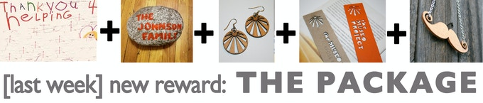 (reward) THE PACKAGE DEAL! Postcard thank you + your name in the stone garden + earrings + bookmarks + mustache necklace in honor of our last 3 days! Hurry!