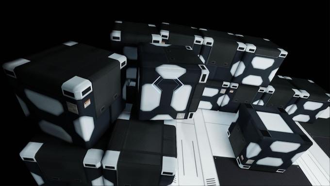 A crate prop, low resolution screenshot.