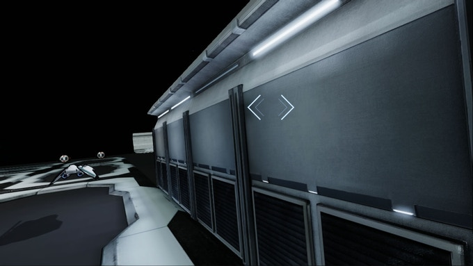 A wall asset, with some enemy ship models in the background.