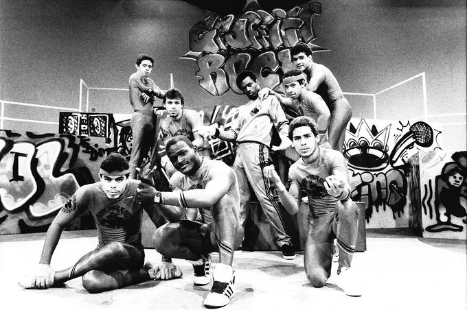 "The New York City Breakers on ""Graffiti Rock"" Photo by Martha Cooper"