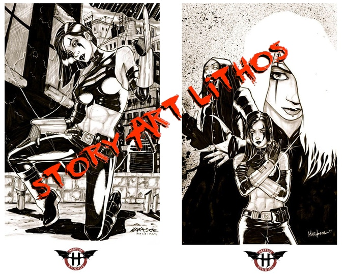 Frame pages from the comic with HEAVY STOCK STORY ART LITHOGRAPHS-Signed