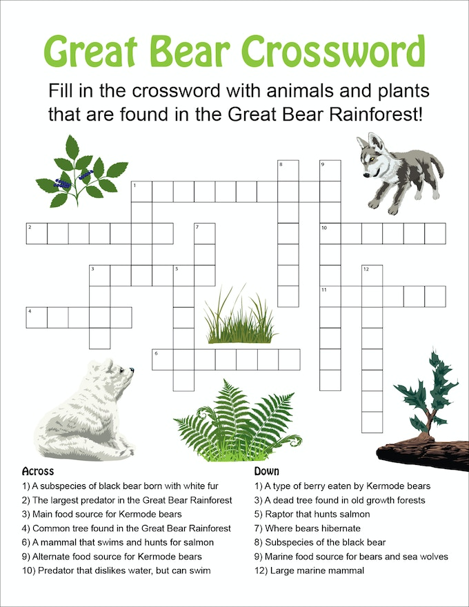 'Great Bear Crossword'–a free educational resource available to help teach children about life in the Great Bear Rainforest