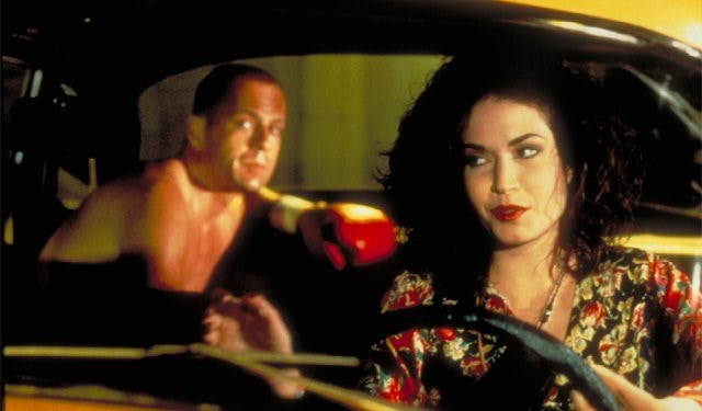 Angela Jones with Bruce Willis in PULP FICTION