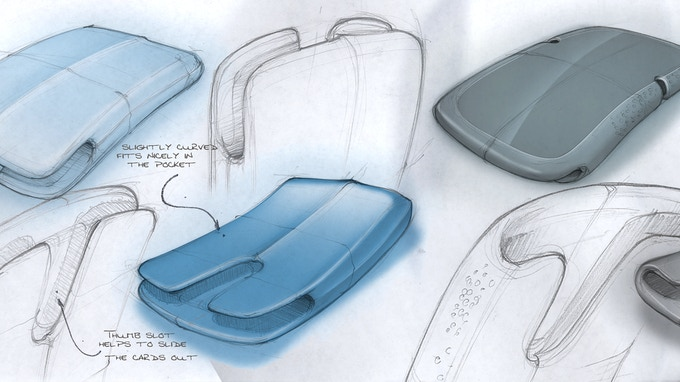 Very early concept sketches of the NU curved Card Holder/Wallet