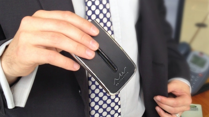 No more bulky wallets in business suits!