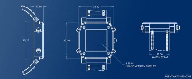 Dimensions of prototype watchcase (in mm).  Does not include 1.5mm caseback.