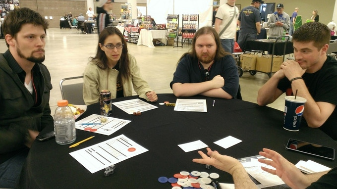 Joanna Gaskell (Stadard Action) and Brian Lewis (the Gamers: Dorkness Rising; Journey Quest) Playing Rise of the Plushies at Berserkon 2013.