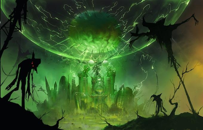 """Emerald City"" in background -- illus."