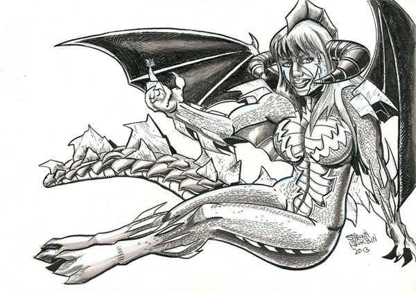 Dragon Girl by Shawn Harbin - An Example of the Amazing Commissions Available at the $60 Reward Tier!