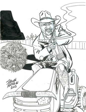 Lawnmower Cowboy by Shawn Harbin - Another Example of the Unique Commissions Available at the $60 Reward Tier!