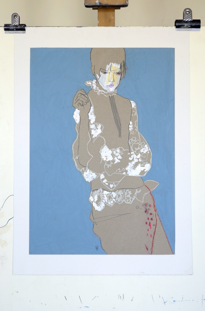 Original drawing – Yoshii in blue ( SOLD )